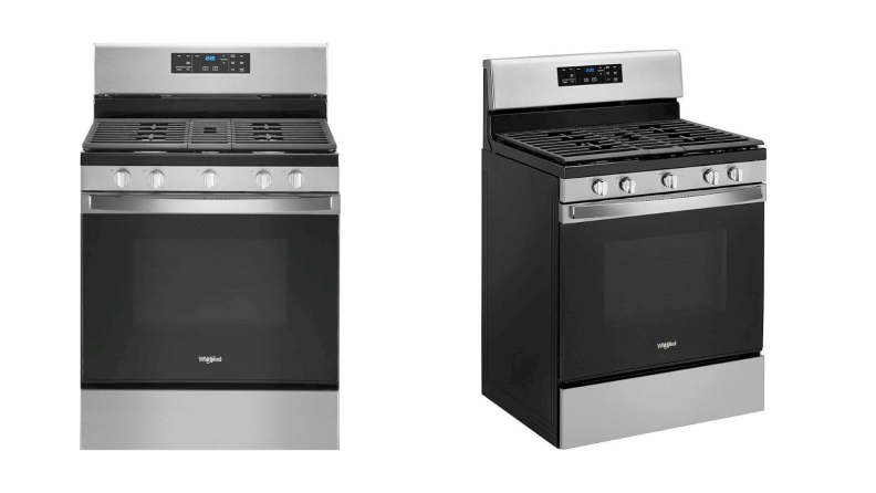 On the left, the Whirlpool WFG535S0JS gas range in black and stainless steel finish; on the right, a side angle looking at the same range.