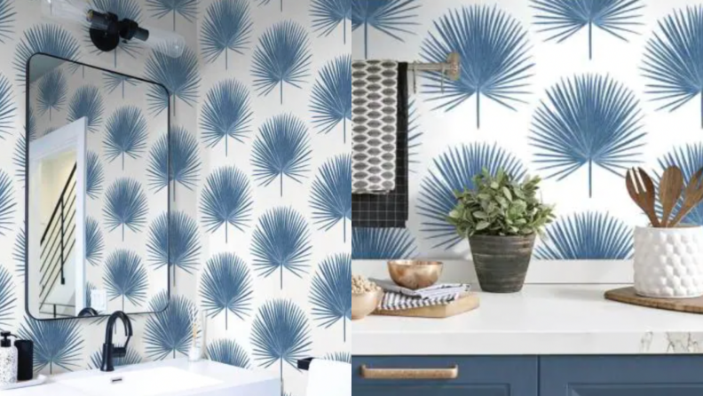 On the left, a palm flower design in bright blue against a white background on the walls of a bathroom. On the right, a counter with the blue palm floral design.