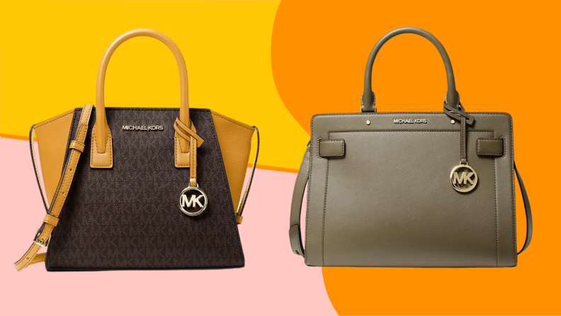 Two leather handbags against a colorful background.