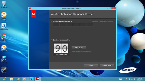 A 90-day trial to Photoshop Elements is included.