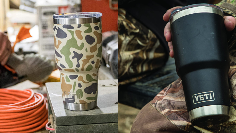 A camouflage and black Yeti stainless steel cup.