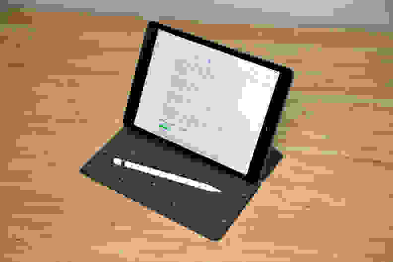 An Apple iPad with a keyboard attached.