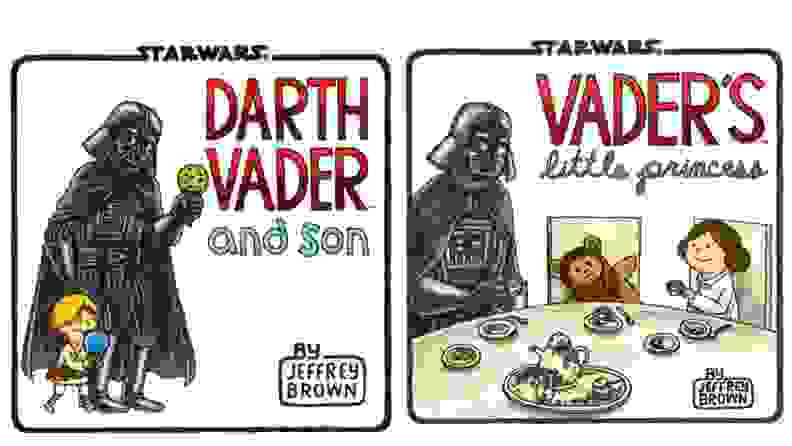 Illustrations with Darth Vadar parenting Luke and Leia