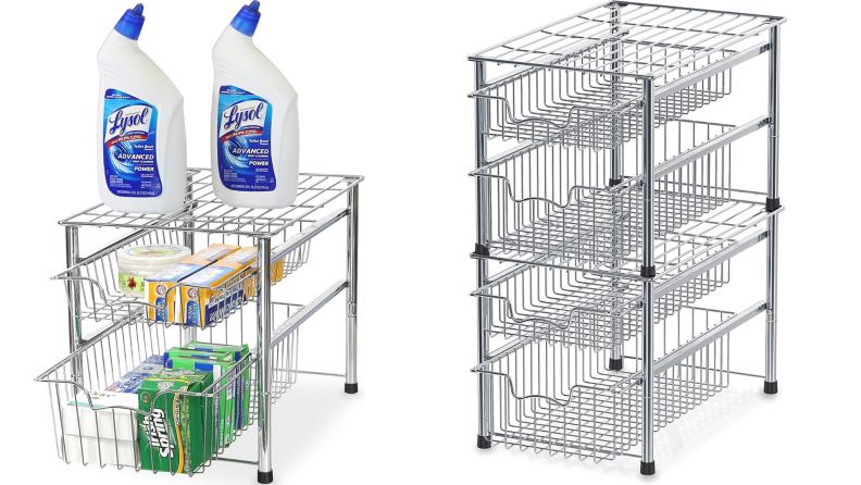 A tiered storage rack.