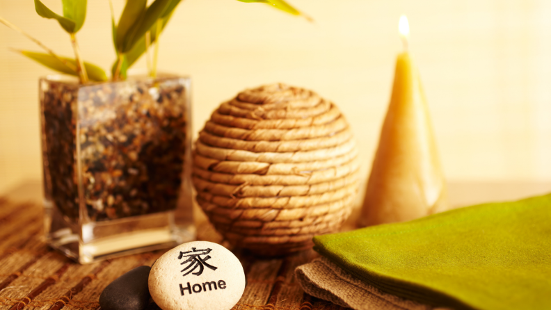 Home decor still life with bamboo in a vase.