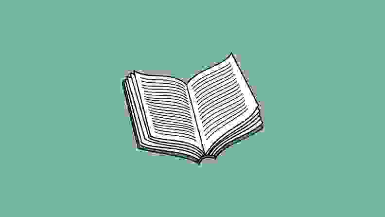 An illustrated open book on a green background