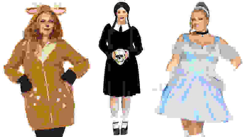 Three women standing next to each other wearing costumes: deer, Wednesday Adams, Cinderella