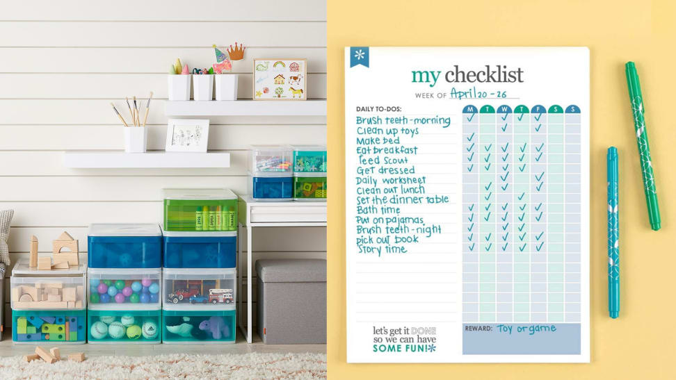 The Container Store drawers and Erin Condren checklist