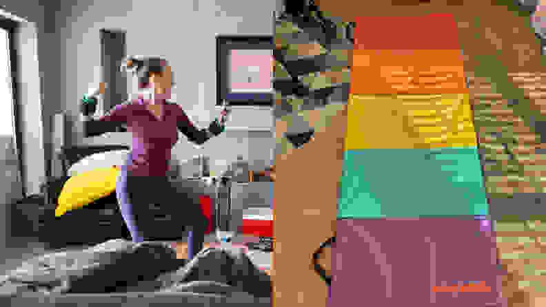 woman dancing at home and antsy pants mat