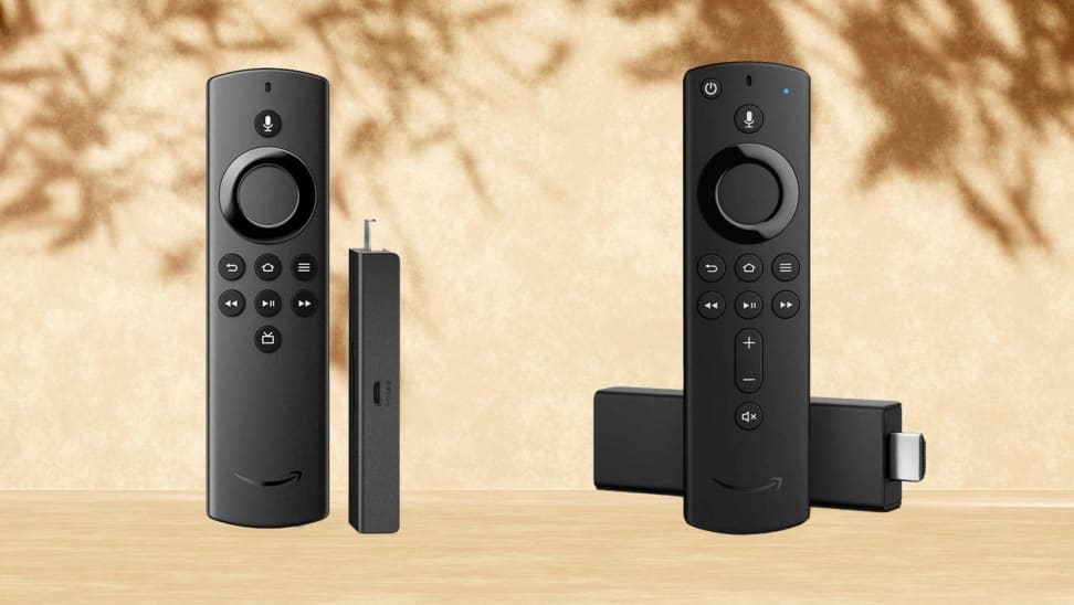 Two black Amazon Fire Sticks side-by-side showing different angles