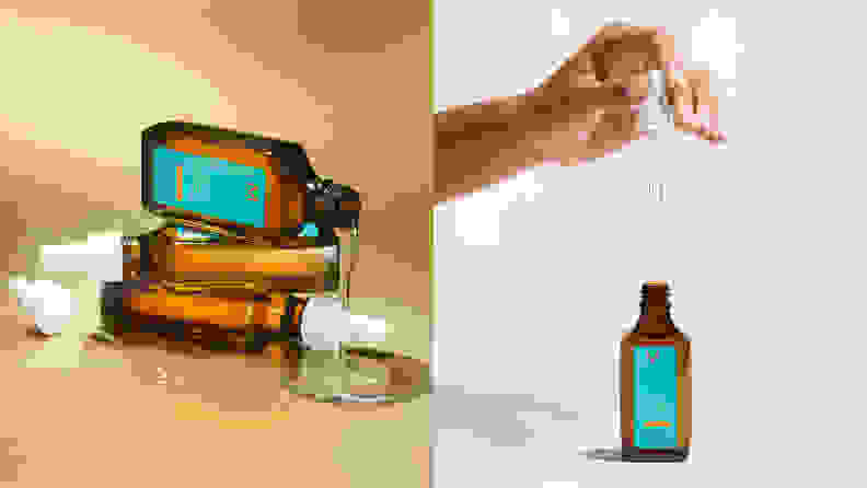 On the left: Three brown Moroccanoil bottles stacked on each other. On the right: A hand holding the bottle's dropper above the brown bottle.