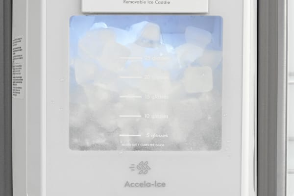 The Kenmore Elite 51773's door-mounted ice maker takes up less space and still holds plenty of cubes.