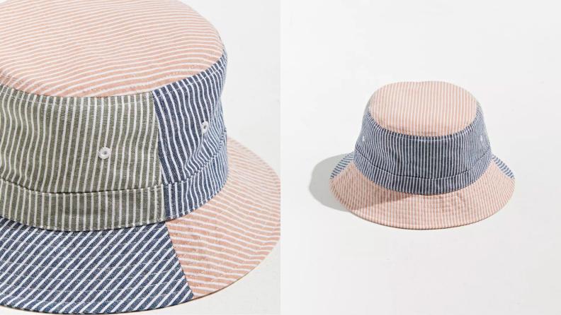 close-up photo of seersucker bucket hat