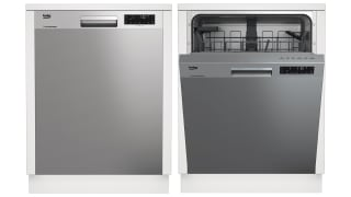 Two images of the dishwasher side by side. The leftmost has its door closed, the rightmost has its door open, showcasing its interior.