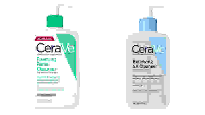 The CeraVe Foaming Facial Cleanser and the CeraVe Renewing SA Cleanser