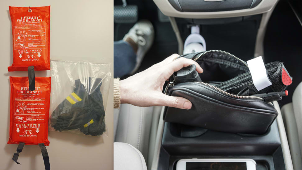 On left, 2-pack of XL Everlit Fire Blankets hanging on wall. On right, Recon Medical tourniquet sticking out of woman's purse in car.