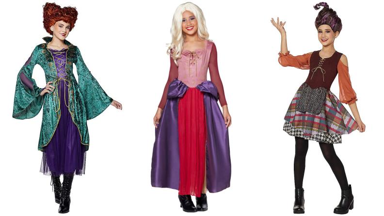 Three tweens dressed in costume as the Sanderson sisters from Hocus Pocus