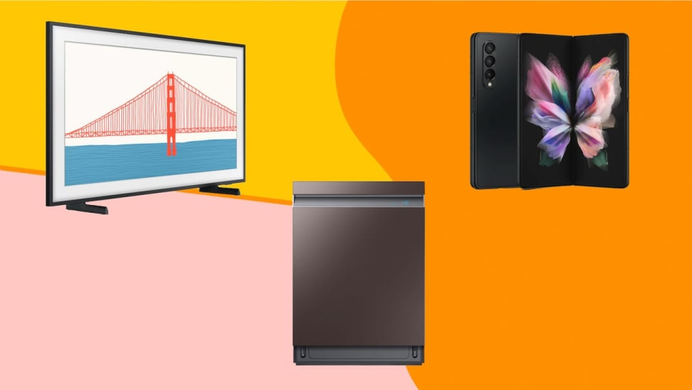 Samsung TV, dishwasher, and phone against a colorful background.