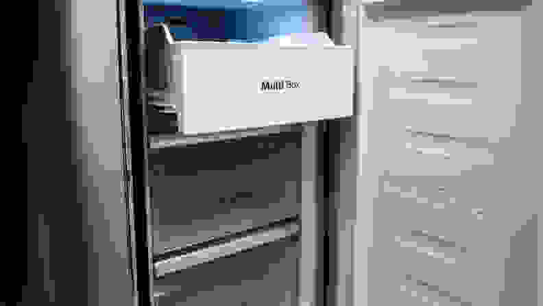 The Hisense HQD20058SV French door refrigerator's Multizone freezer section, which can be customized to function as either another refrigerated compartment or a freezer.