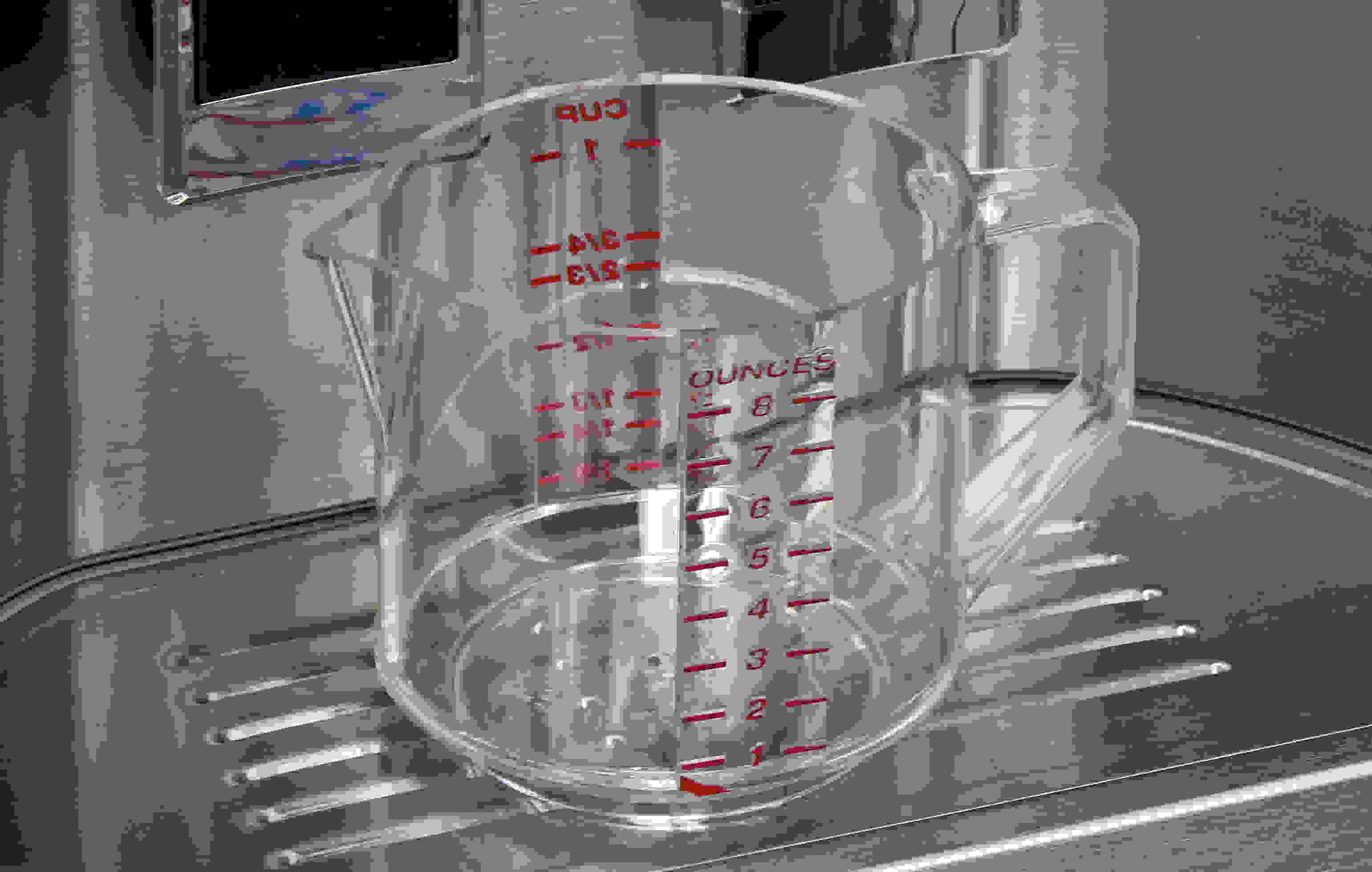 Not only does the dispenser have a measured fill feature, the KitchenAid KFXS25RYMS also comes with a small measuring cup to boot!