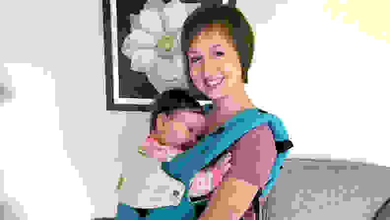 Woman with baby in a Lillebaby Complete baby carrier