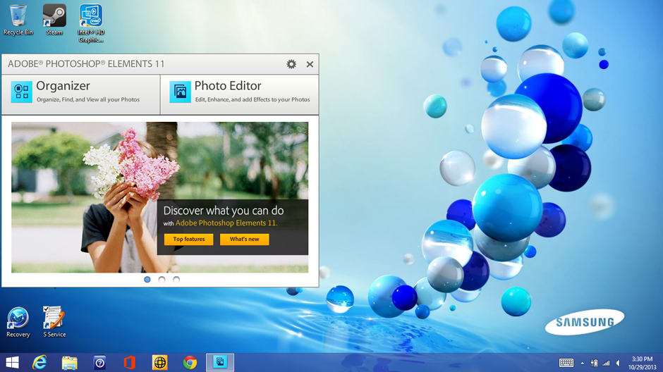 A 90-day trial of Adobe Photoshop Elements 11 is included.