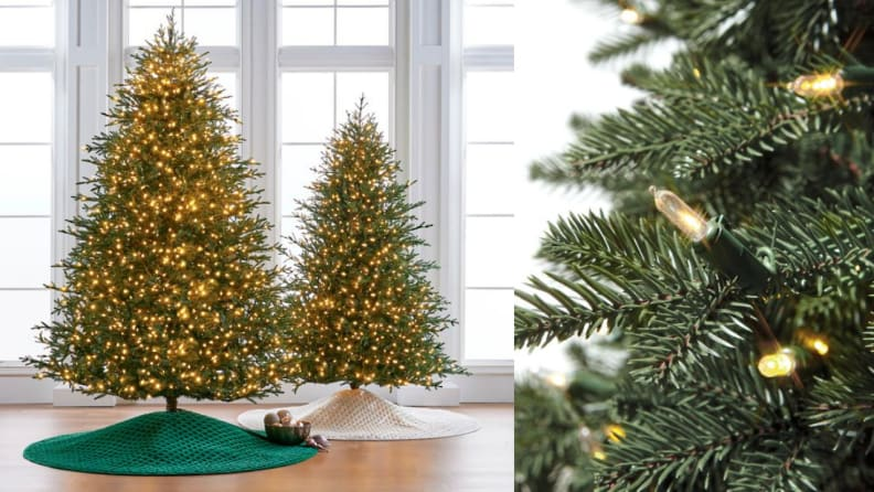 There are more than 1,000 warm LED lights on each of these faux trees.