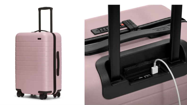 On left, product shot of blush colored suitcase from Away Travel. On right, Apple USB cord plugged into blush colored suitcase from Away Travel.