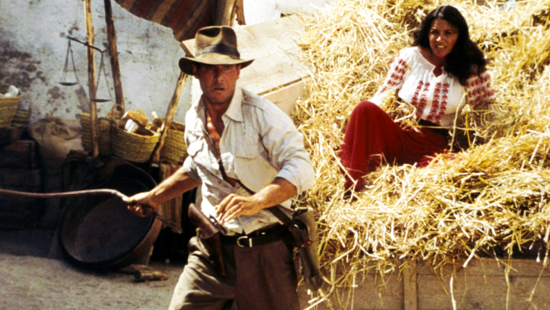 'Raiders of the Lost Ark' stars Harrison Ford and Karen Allen.