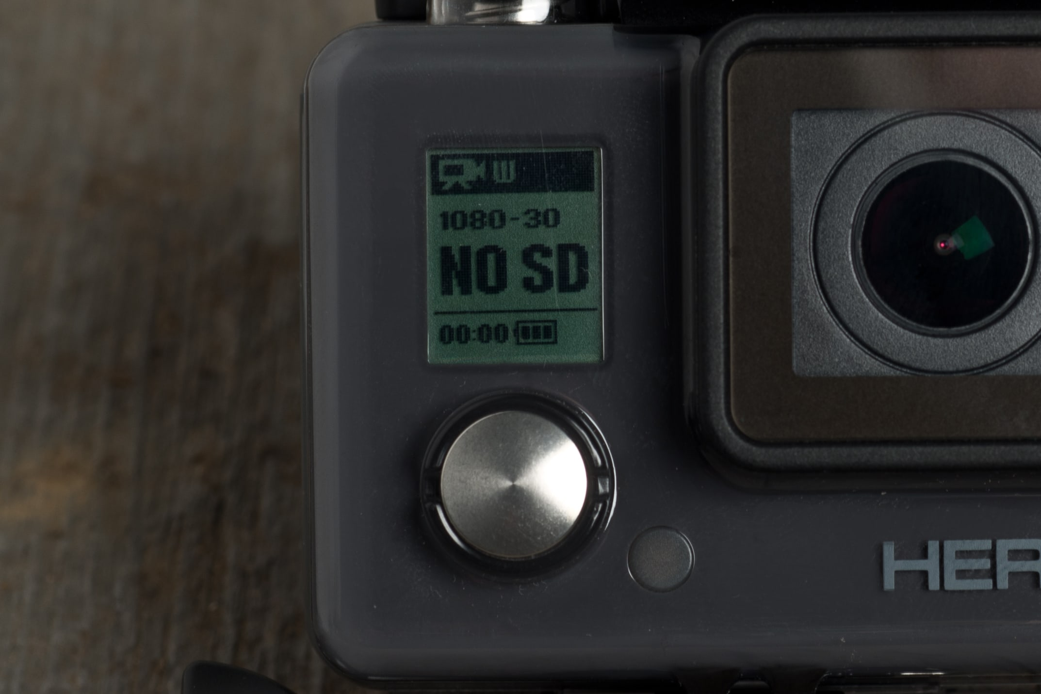 A photograph of the GoPro Hero 2014 edition's screen.
