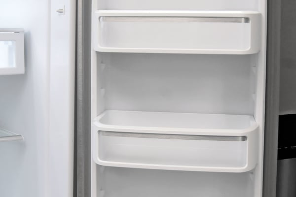The KitchenAid KFXS25RYMS's right fridge door holds shelves deep enough to accommodate gallon-sized jugs, but no designated dairy bin.