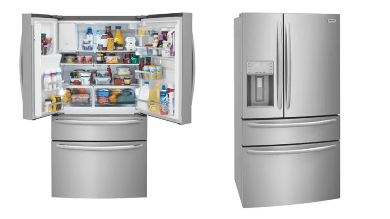 Two images of the same silver Frigidaire fridge, one with doors open and items and the other closed.