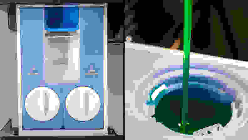 A composite image. The left half is a top-down view of the detergent dispenser, with two twist-off caps covering the detergent and fabric softener reservoirs. In the back middle of the drawer is a small trough for adding bleach. The right half of the image shows detergent drizzling down from off camera, into the detergent well.