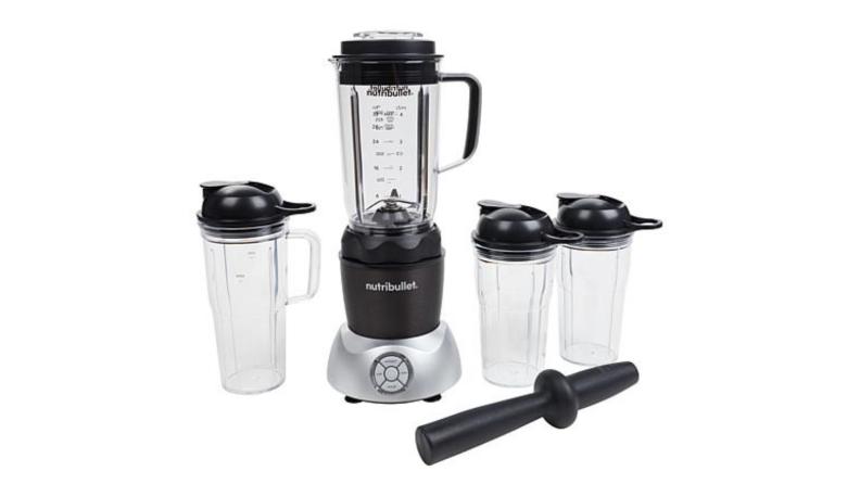 An image of a set of blender bottles and a stand blender base alongside a black pestle.