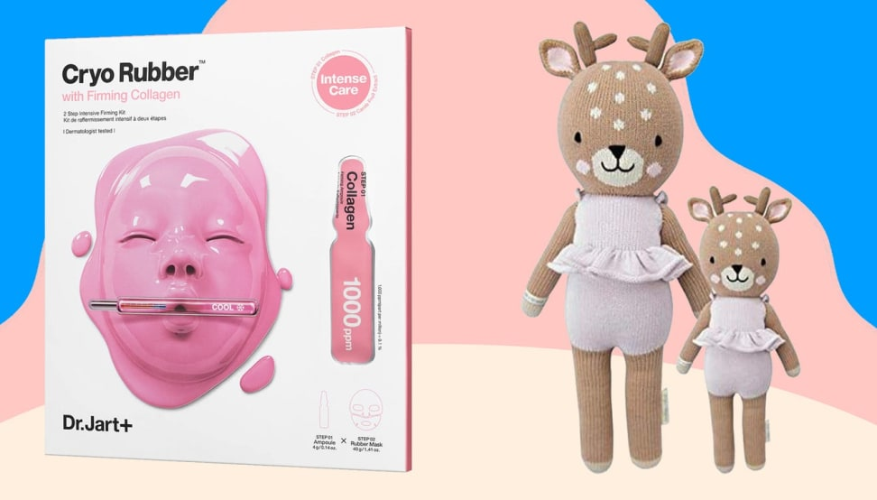 Close up product shots of a face mask and children's plush dolls.
