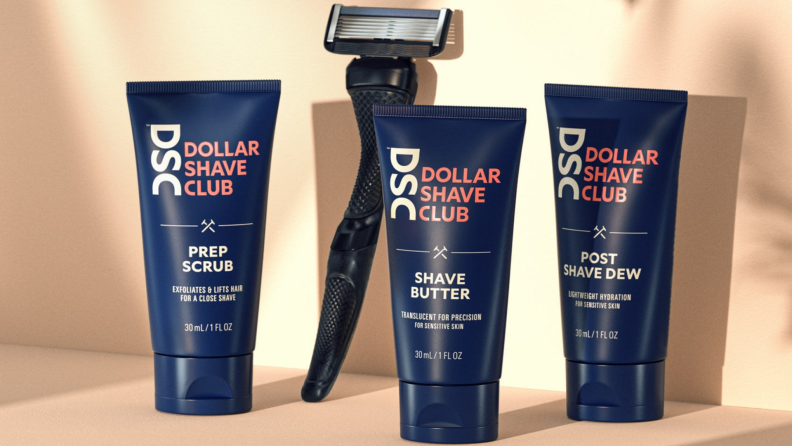 A razor and aftershave from Dollar Shave Club.