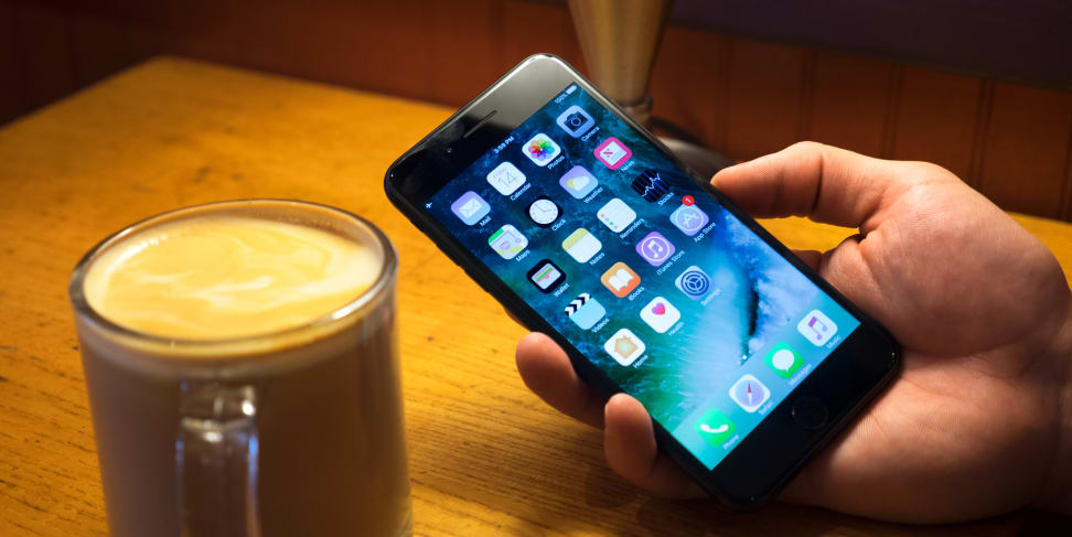 The iPhone 7 Plus being used at a café