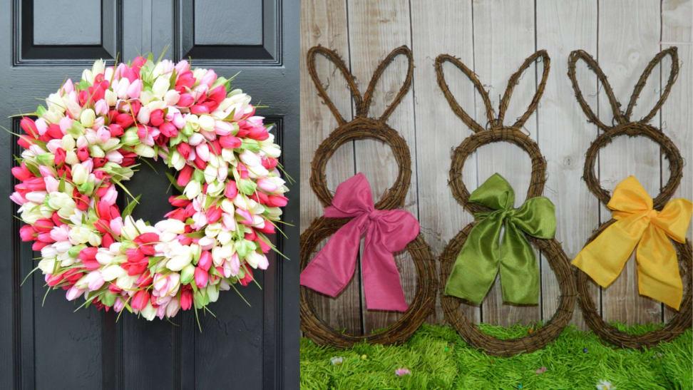 Easter wreaths against doors