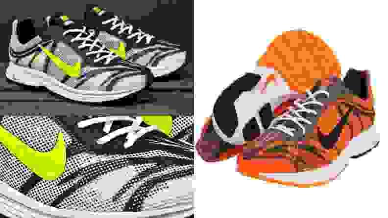 Pair of black and green Nike Zoom Streak 3 running shoes, pair of orange and black Nike Zoom Streak 3 running shoes.