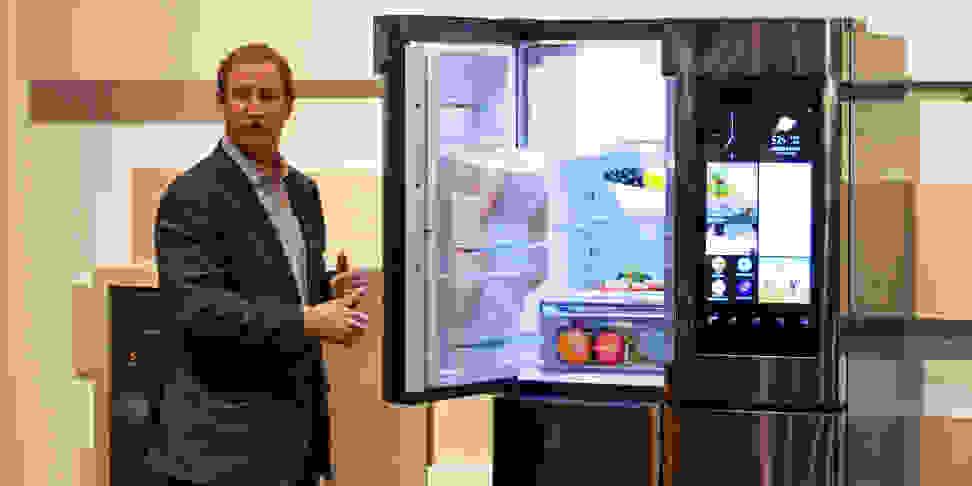 Samsung's John Herrington introduces the Family Hub refrigerator at CES 2016