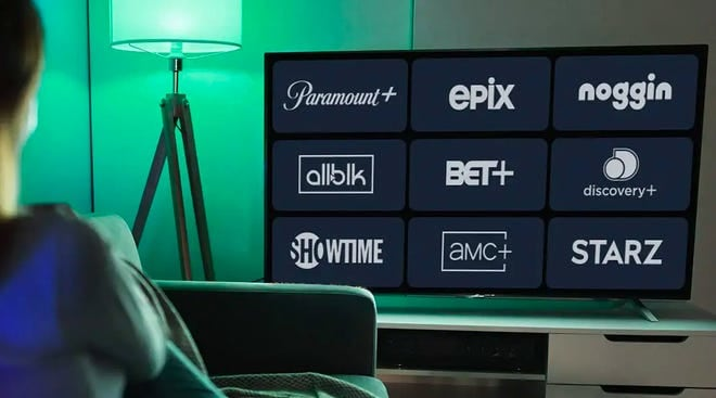 A TV featuring different streaming services like Showtime, BET+, and Paramount+.