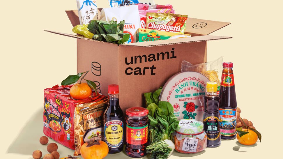 Inside a box of Umamicart grocery delivery: