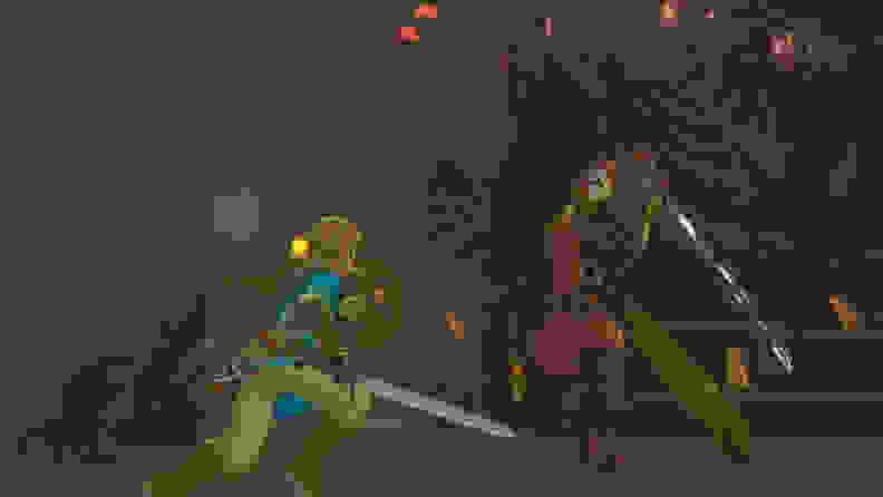 Link battles a Yiga ninja in an underground hideout.