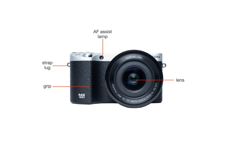 Front view of the Samsung NX500.