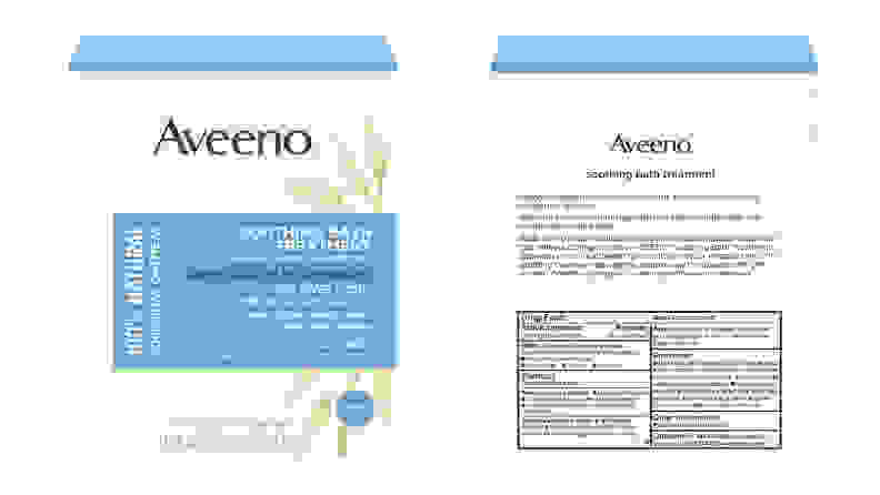 A image of the front and back of the packaging on the Aveeno Soothing Bath Treatments