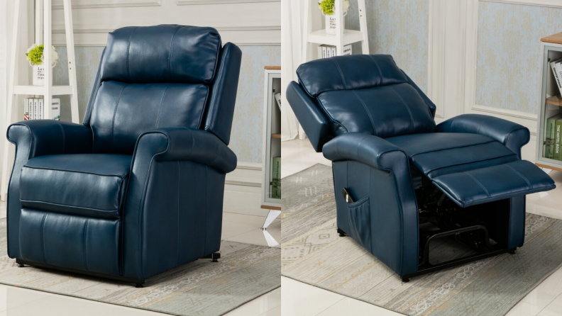 On left, navy blue leather recliner chair in living room. On right, navy blue leather extended in horizontal position.