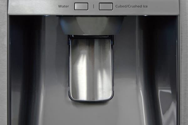 The Samsung RF23HTEDBSR's dispenser is tall and deep enough to accommodate an average drinking glass, though we'd have liked a bright niche light.