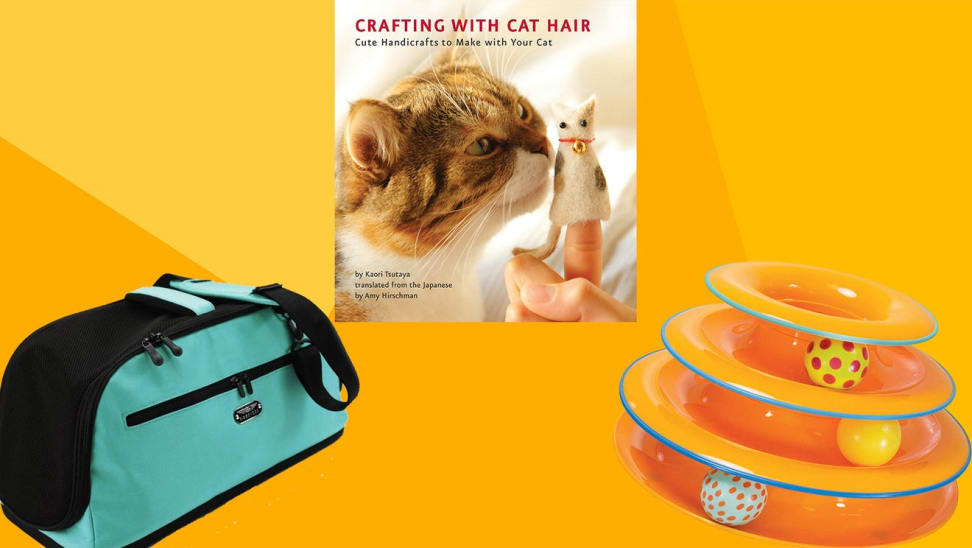 Cat carrying bag, book on cat hair and an orange cat toy on a red and orange background.