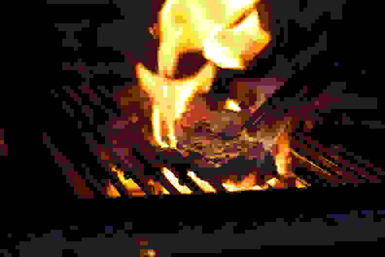 Grill with tall flames