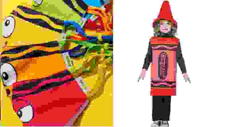 A pack of crayon-style masks and a child in a red crayon costume.